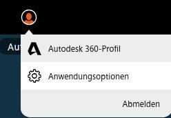 Autodesk Profil und Anwendungsoptionen
