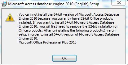 Fehlermeldung ODBC 32-64 bit