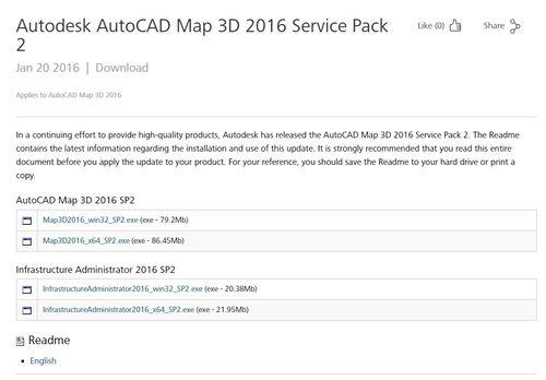 SP2 für AutoCAD Map 3D 2016
